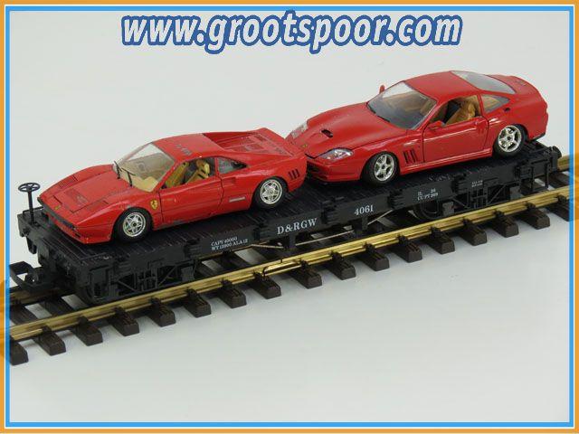 LGB Plattewagen D&RGW 4061 beladen met twee rode Ferrari's