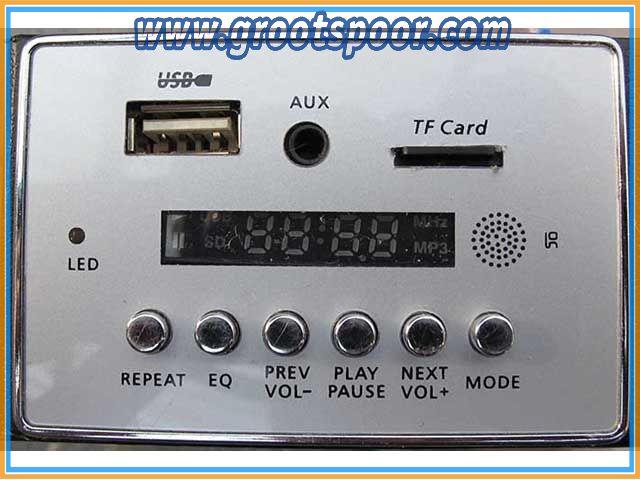 Prehm-Miniaturen 530001 Soundmodul mit Funk-Fernbedienung  12 V DC, im Aluminium-Gehäuse, 2 Lautsprecher, MSD Kartenslot, USB, MP3 und Radio