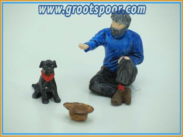 ZinnBlei Gartenbahnfiguren 20090146 Bettler mit Hund und Hut