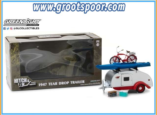 GSDCCgl 00018440a 1/24 Teardrop Trailer with Roof Rack, Bicycle, Kayak